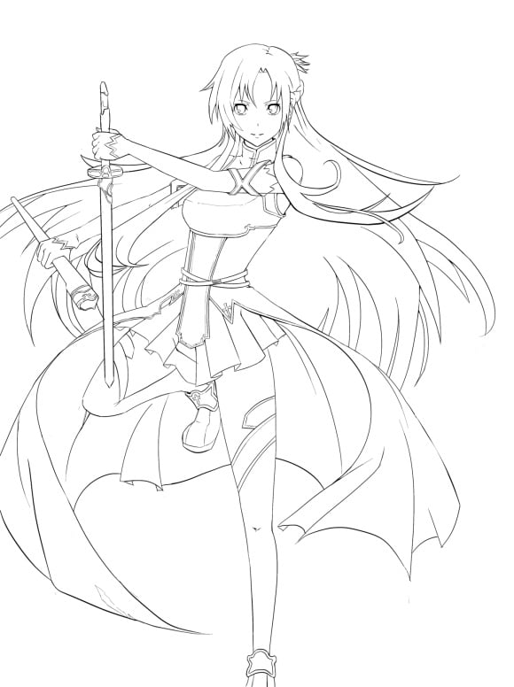 Asuna Sword Art Online Coloring Pages