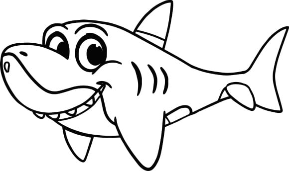 lovely baby shark coloring page