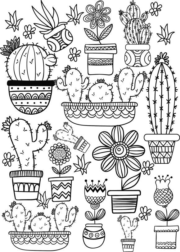 new cactus coloring page