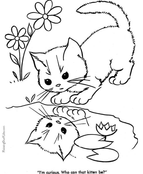 new coloring page cat free 1