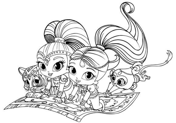 new shimmer and shine coloring pages tiger and monk