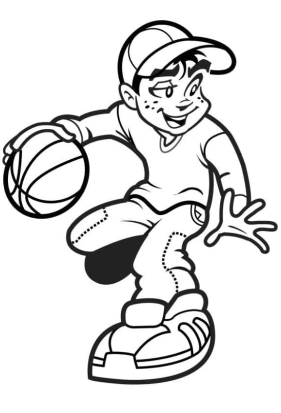 unique coloring page basketball free