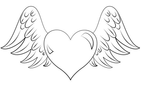 beautiful coloring page of a heart printable