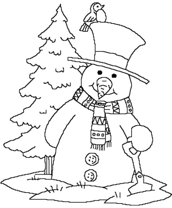 beautiful coloring page snowman full 1