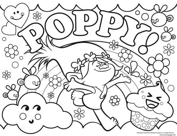 Princess Poppy Troll Coloring Pages