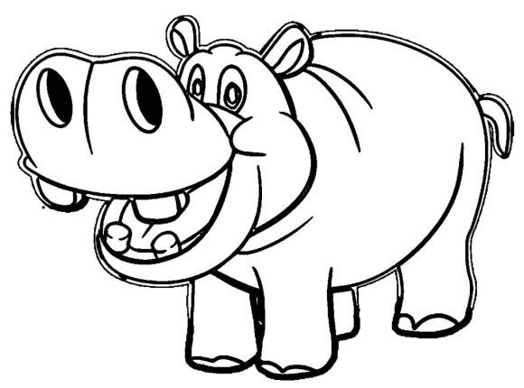 fresh hippo coloring page