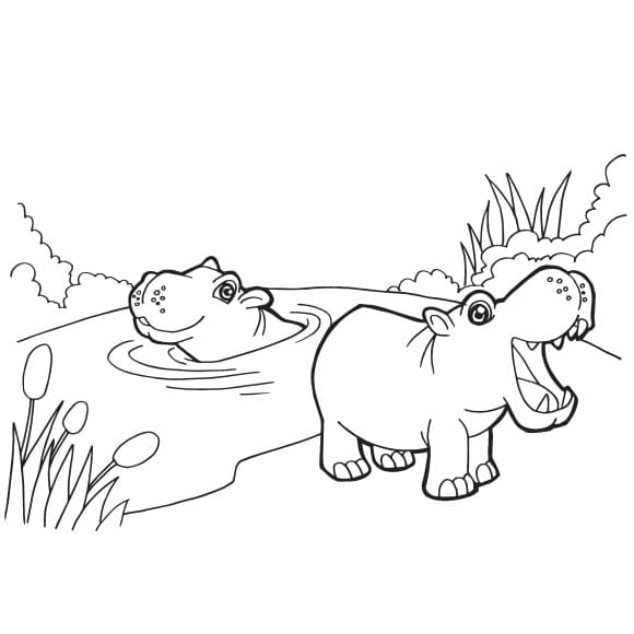 inspirational hippo coloring page