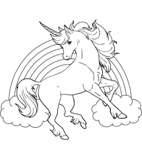 new coloring page of a unicorn full