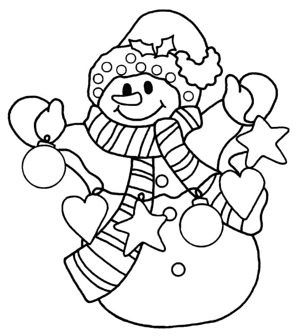 unique coloring page snowman hd 1