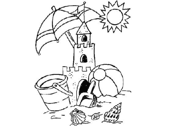 awesome sandcastle coloring page