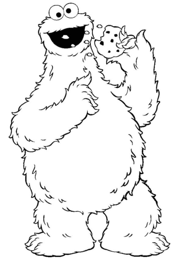 awesome cookie monster coloring page 1