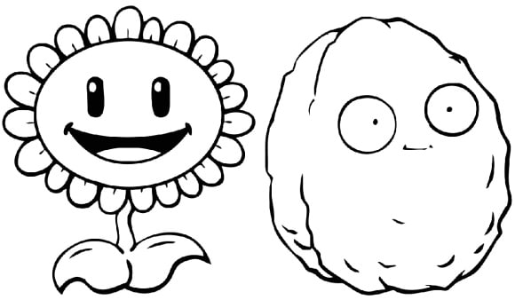 cool plant vs zombie coloring page 1