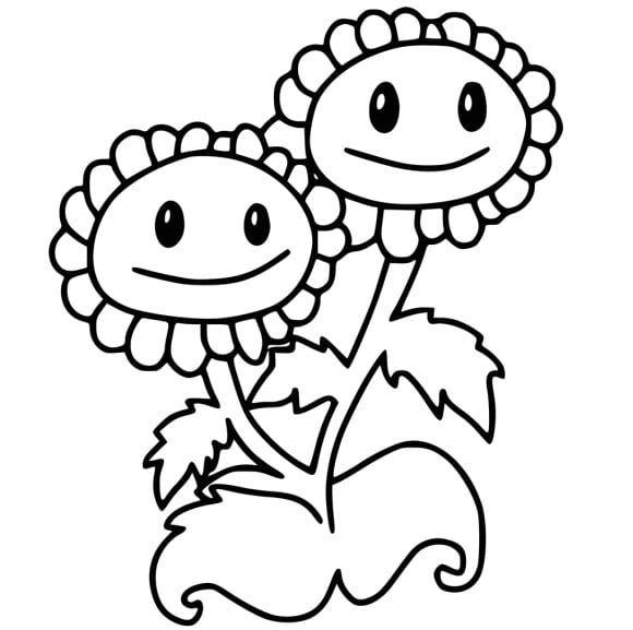 cool plant vs zombie coloring page