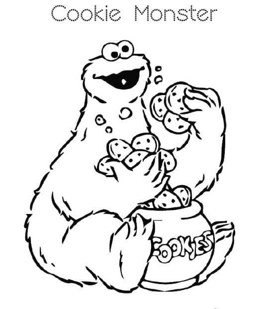 lovely cookie monster coloring page