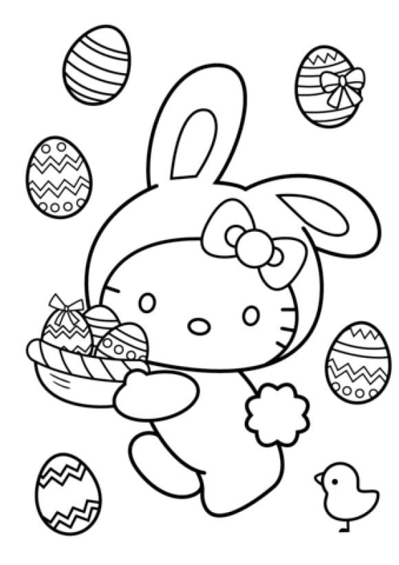 lovely easter bunny coloring page