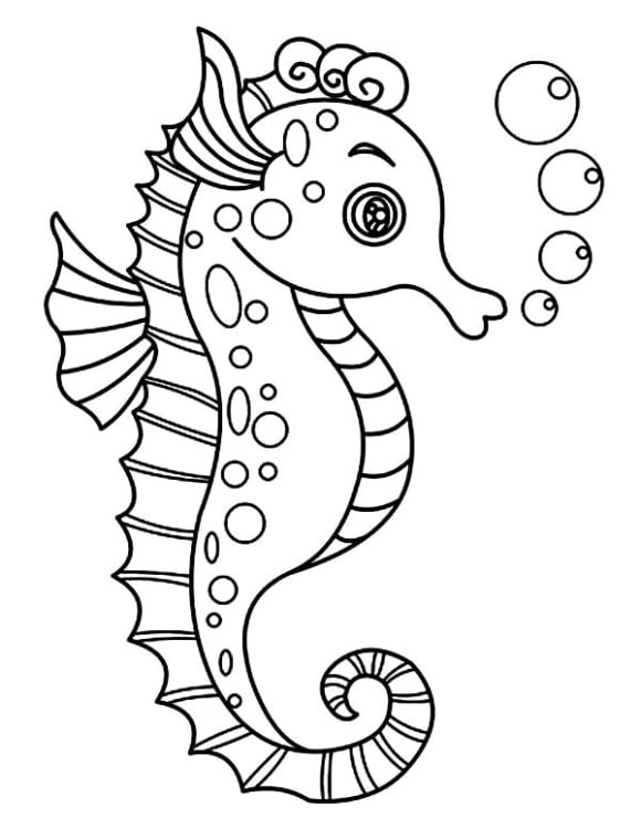 luxury seahorse coloring page