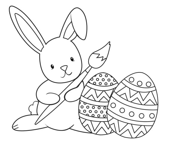 unique easter bunny coloring page