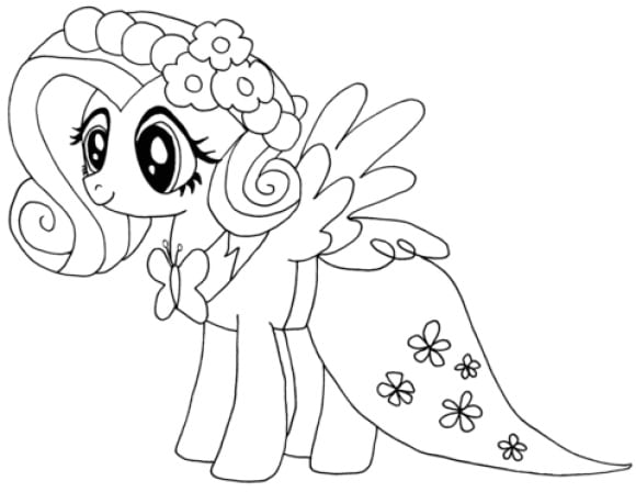 unique fluttershy coloring page