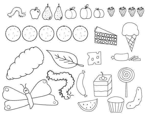 lovely very hungry caterpillar coloring page 1