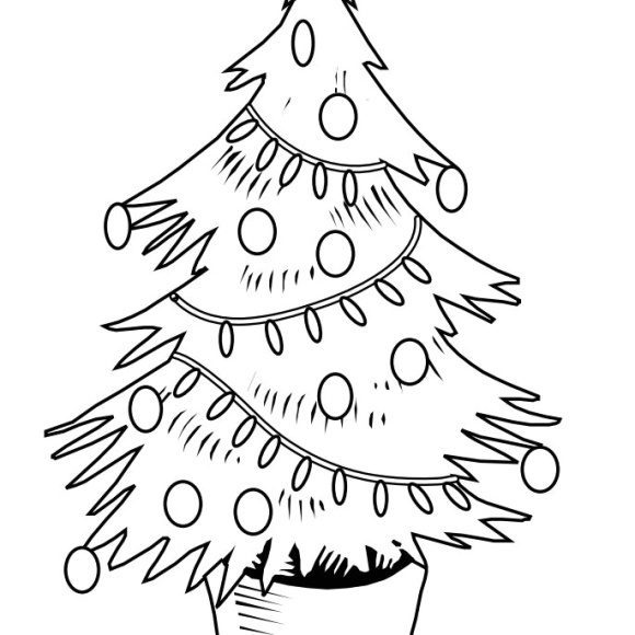 awesome christmas tree coloring page