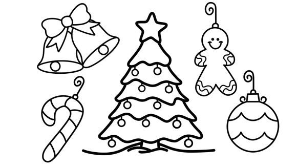cool christmas tree coloring page 1
