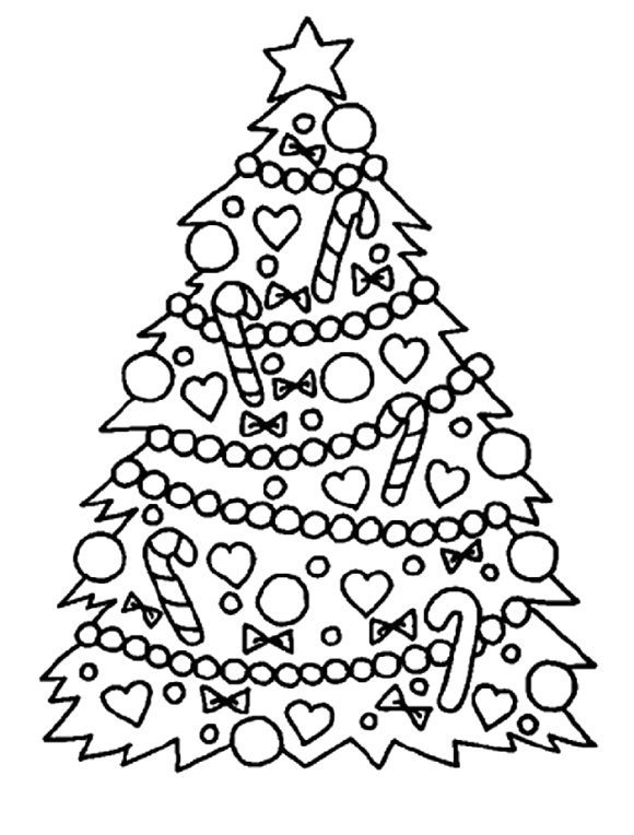 elegant christmas tree coloring page