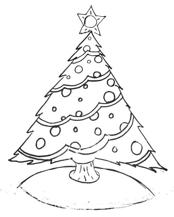new christmas tree coloring page