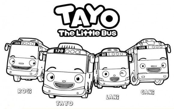 Tayo Group Coloring Page
