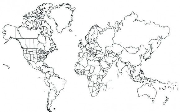 Map of the World Coloring Page