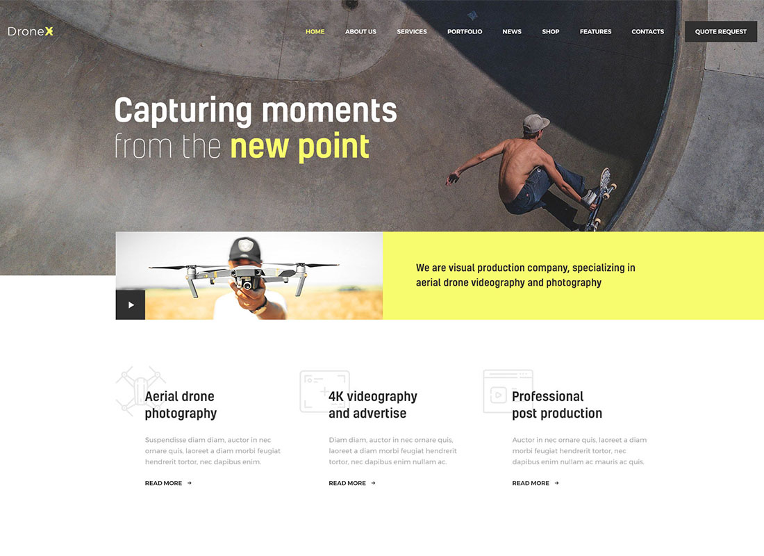 DroneX | Aerial Photography & Videography WordPress Theme