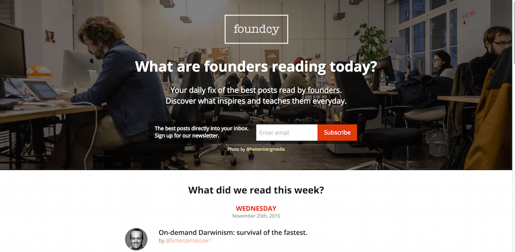 Foundcy.com Your daily fix of the best posts read by founders