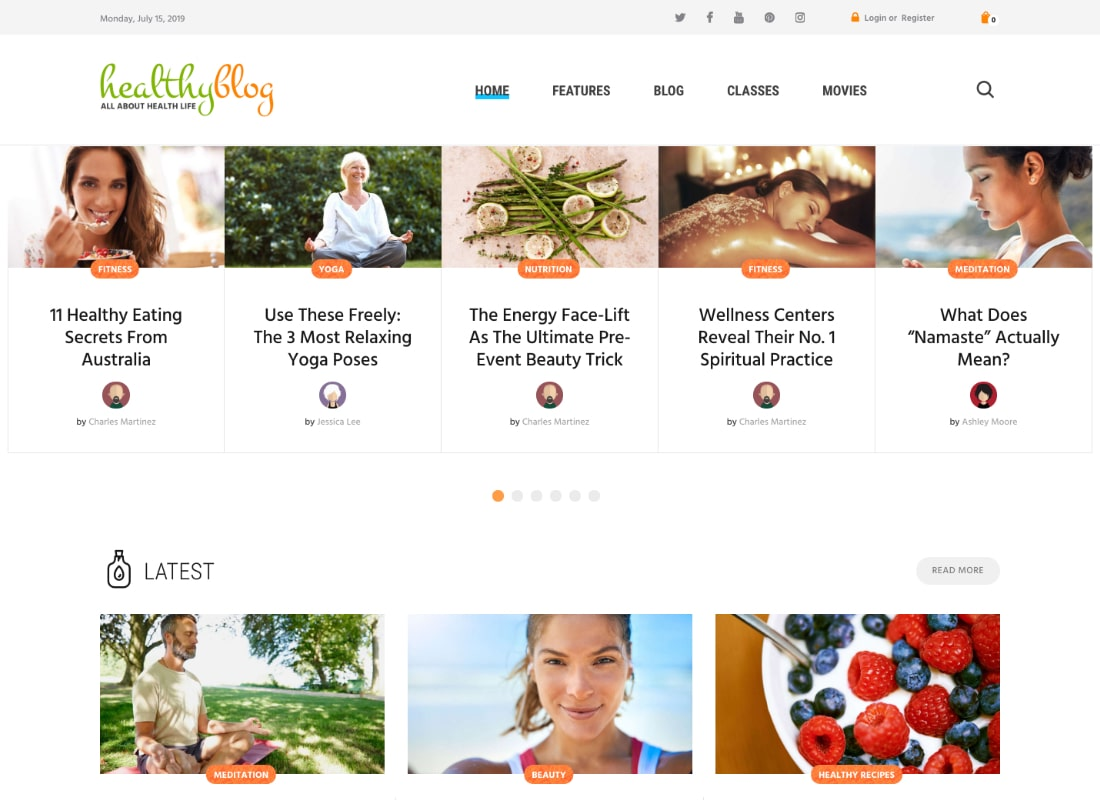 Healthy Living | Blog with Online Store WordPress Theme