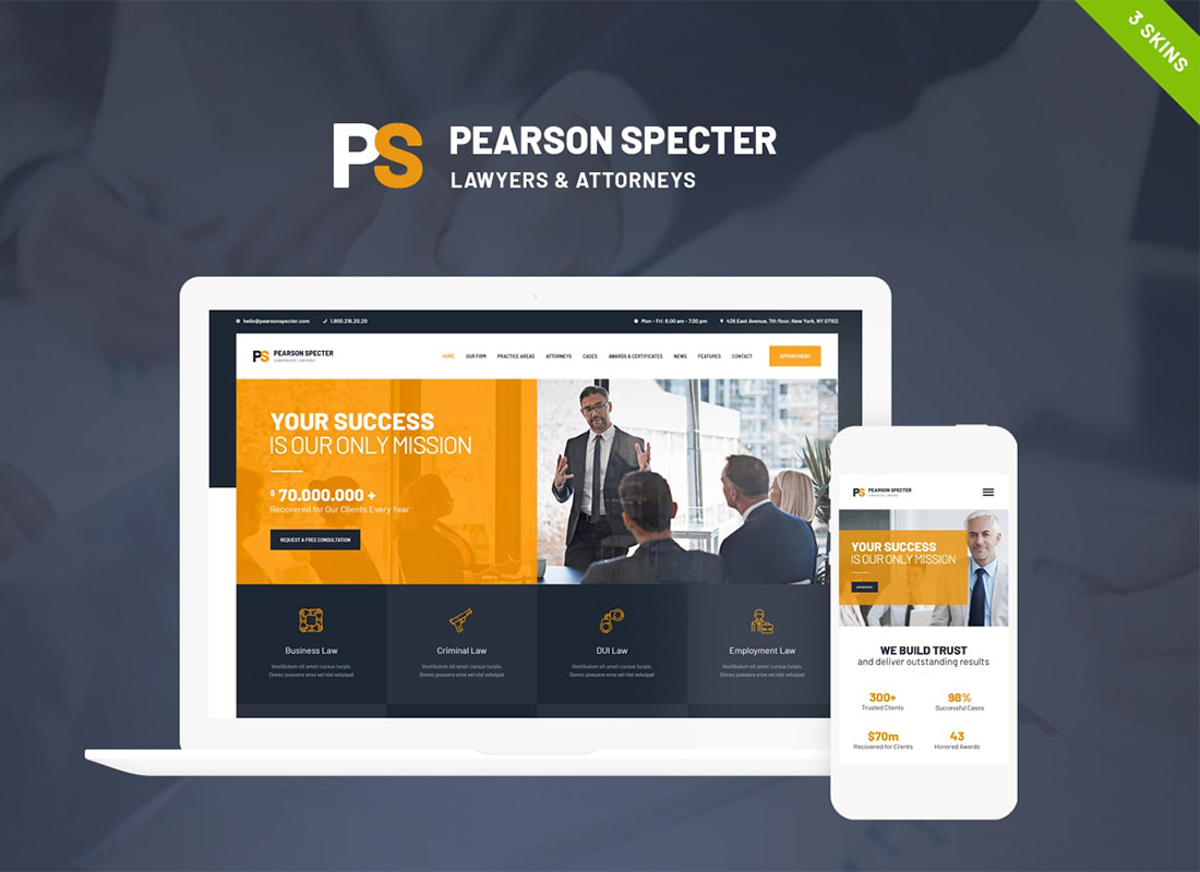 Pearson Specter | WordPress Theme for Lawyer & Attorney