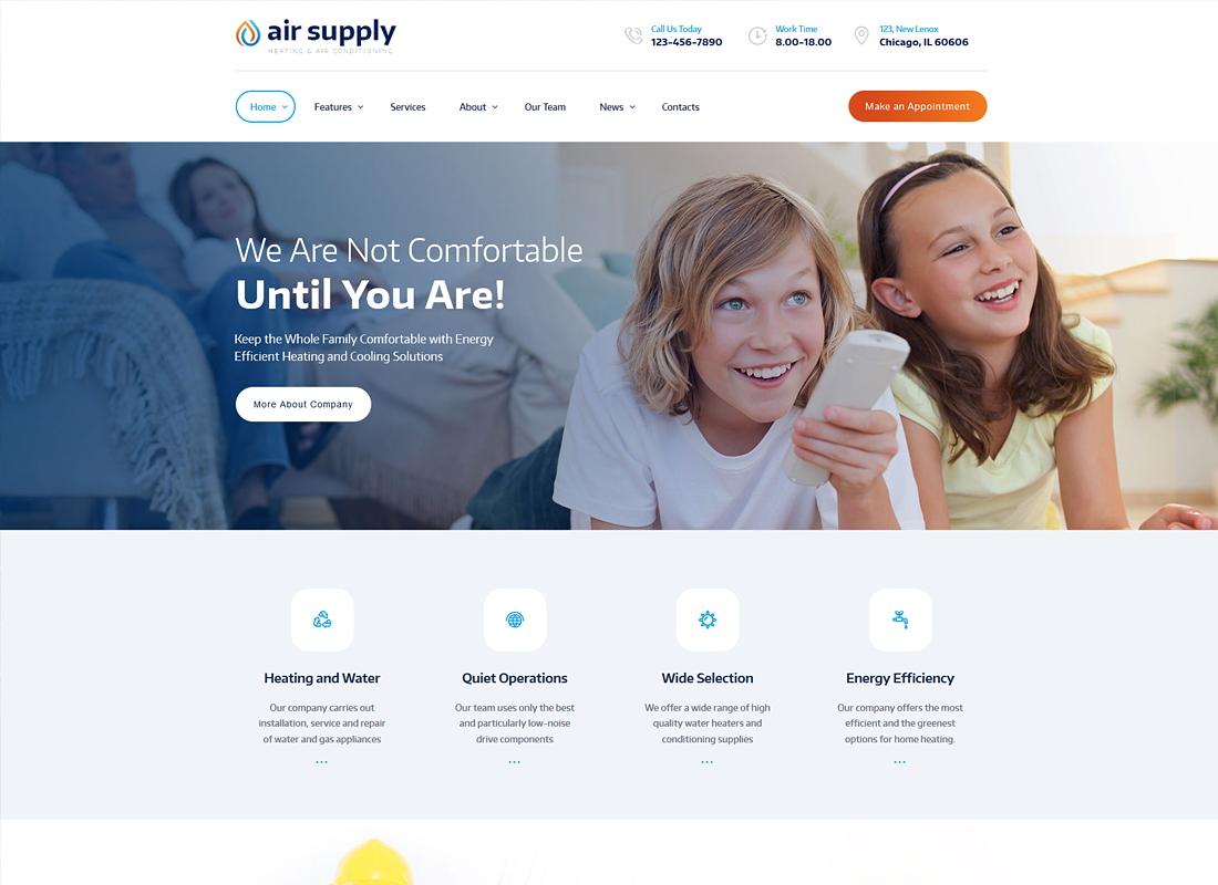 Air Conditioning Company and Heating Services WordPress Theme + RTL