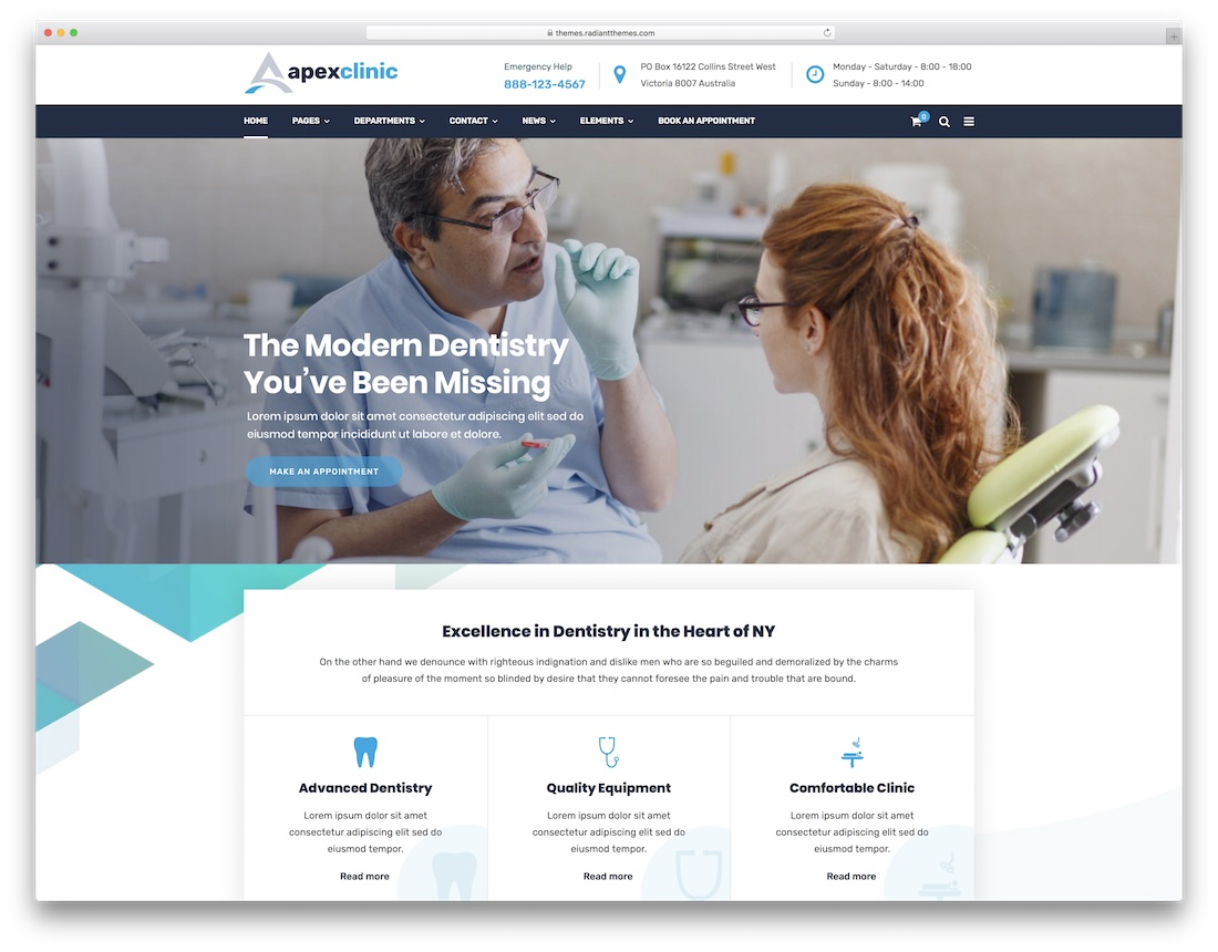 apexclinic wordpress dentist theme