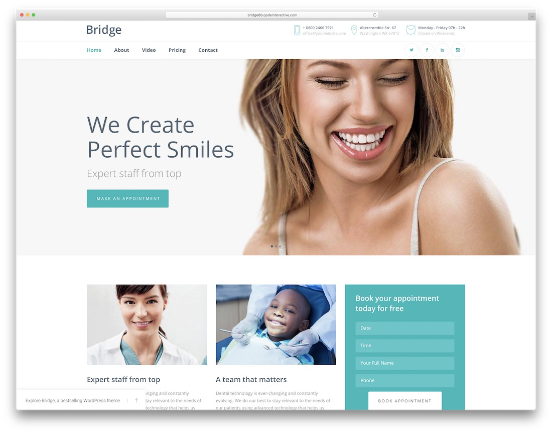 bridge wordpress dentist theme