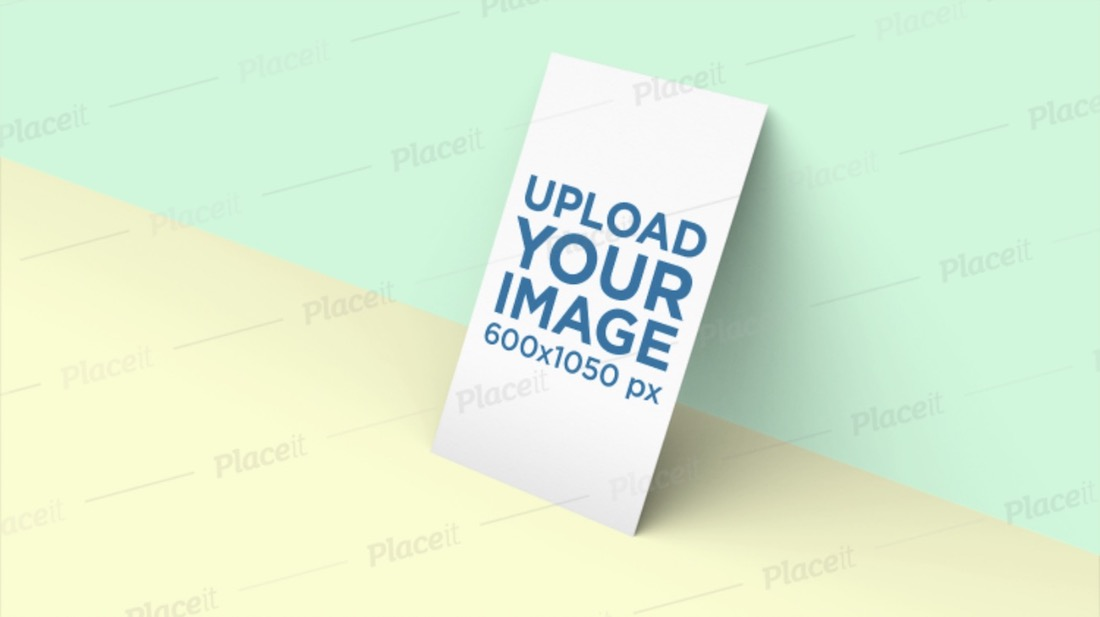 business card mockup in front of a two color background