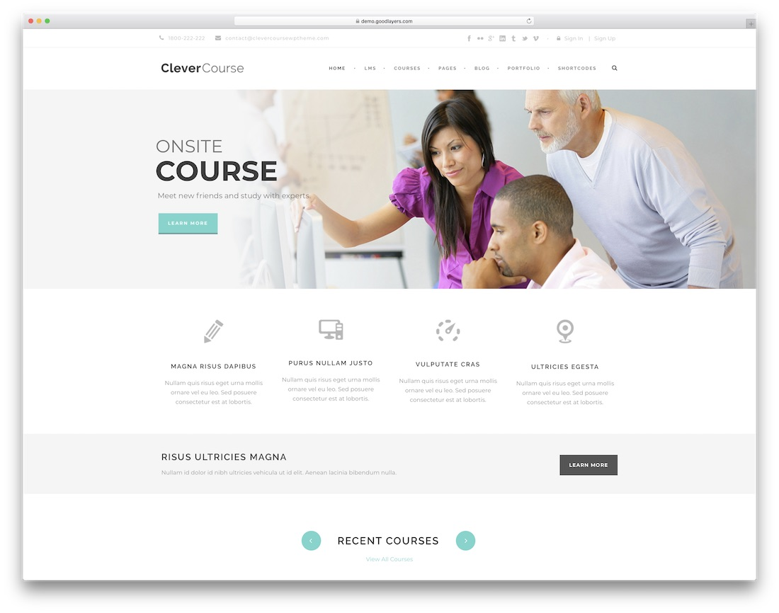 clever course website template