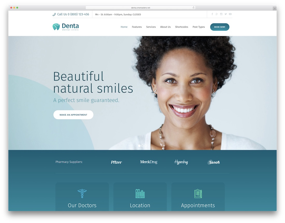 denta wordpress dentist theme