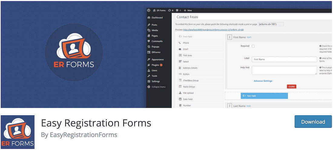 easy registration forms for wordpress