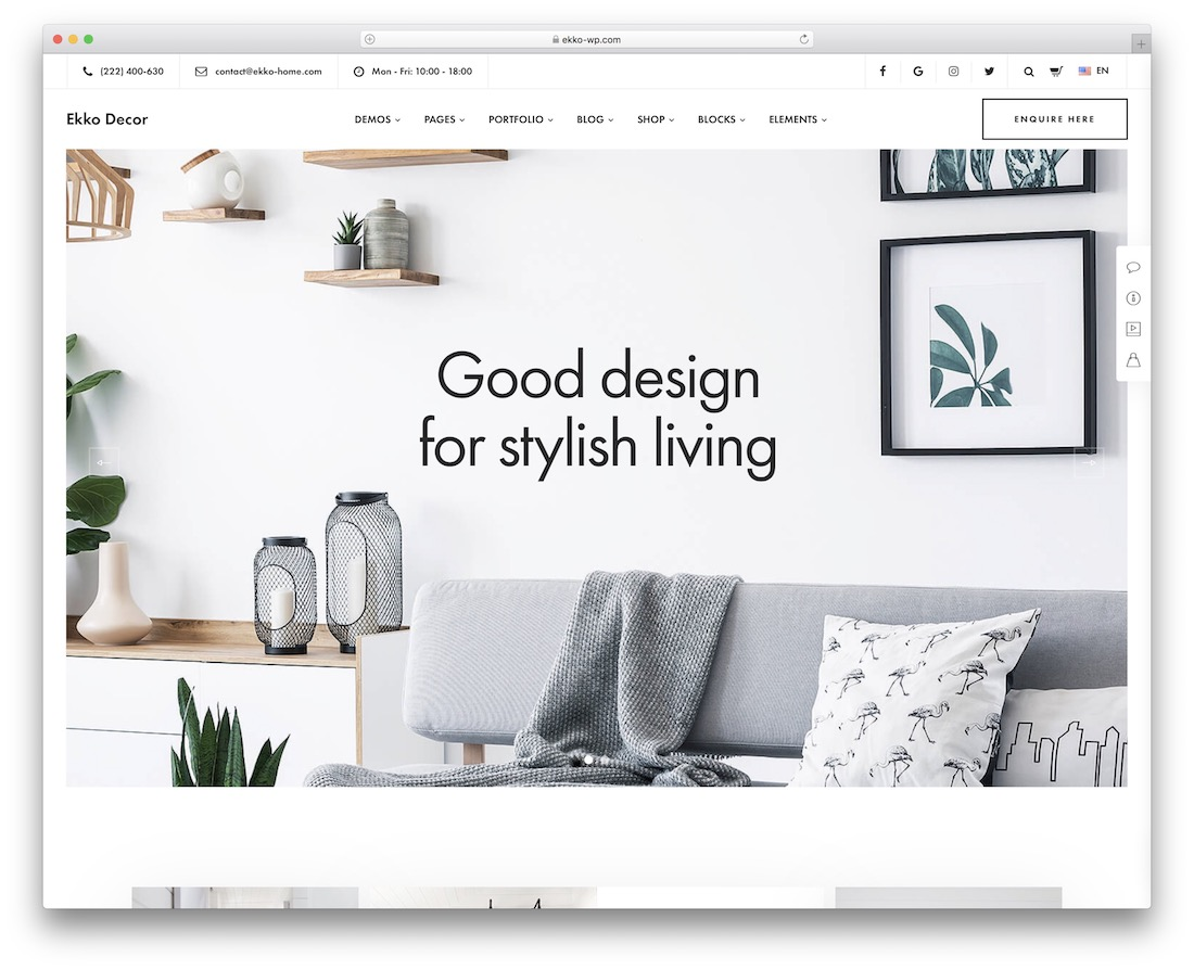 ekko interior design wordpress theme
