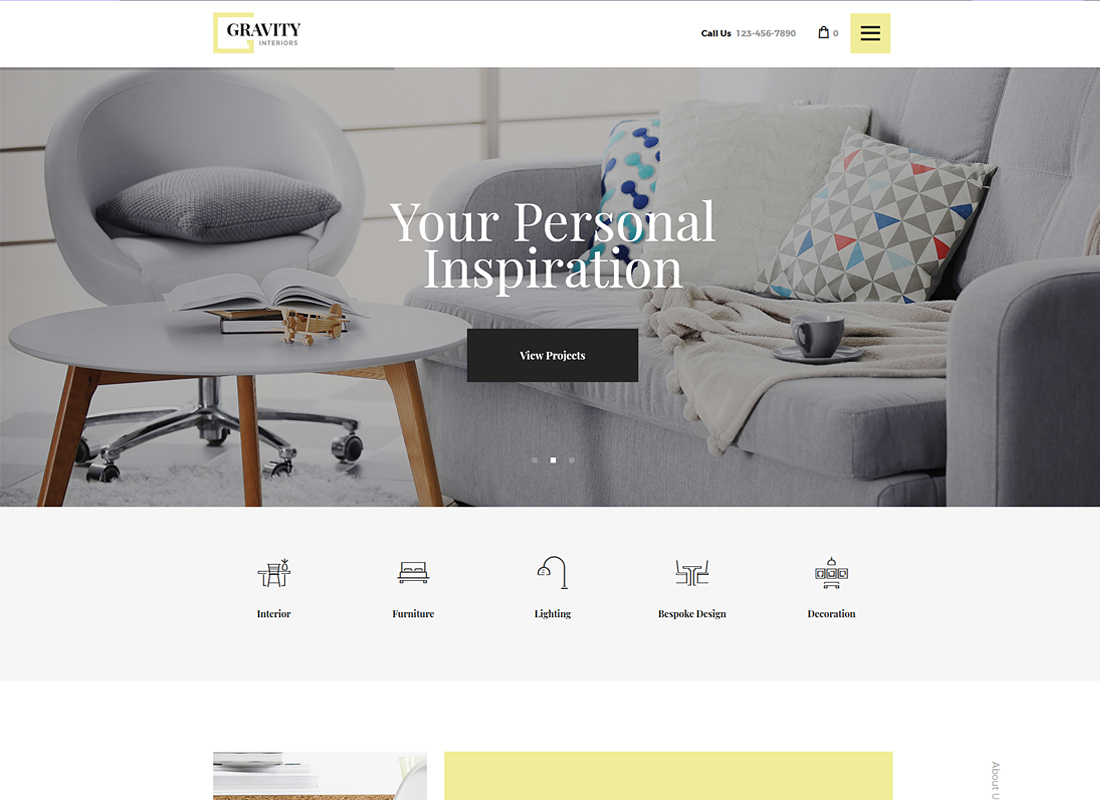 Gravity - A Contemporary Interior Design & Furniture Store WordPress Theme