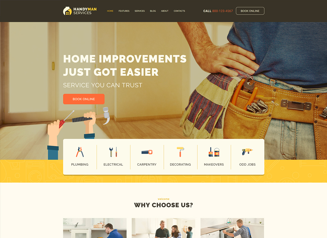 Handyman - Construction and Repair Services WordPress Theme