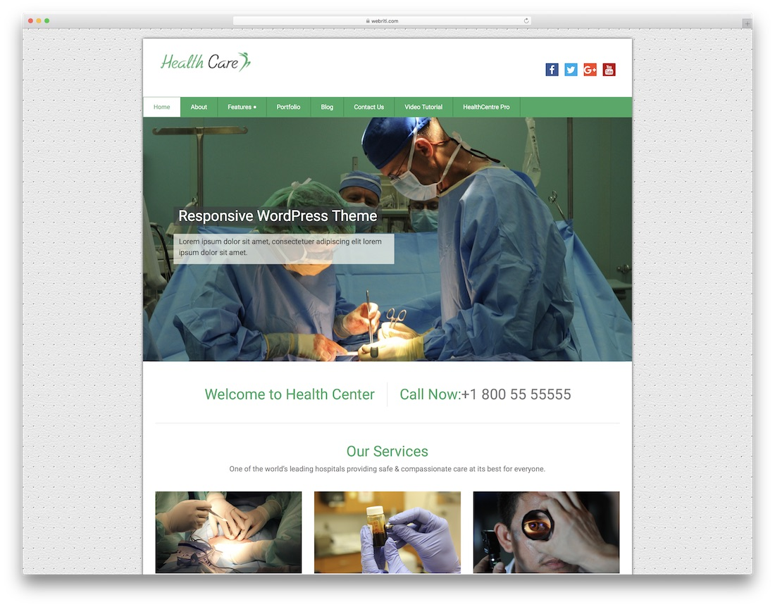 health care free medical website template