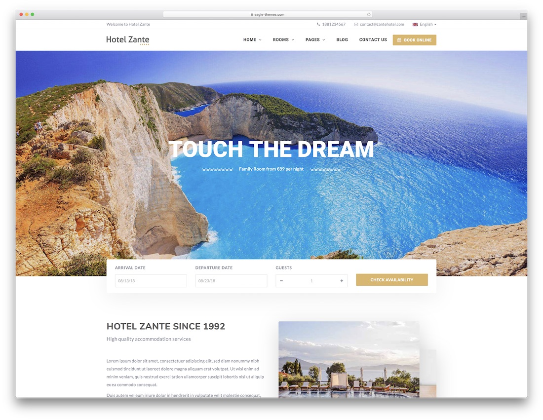 hotel zante best hotel wordpress theme