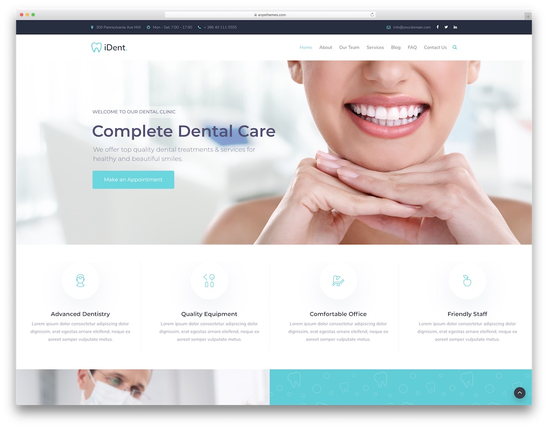 ident wordpress dentist theme