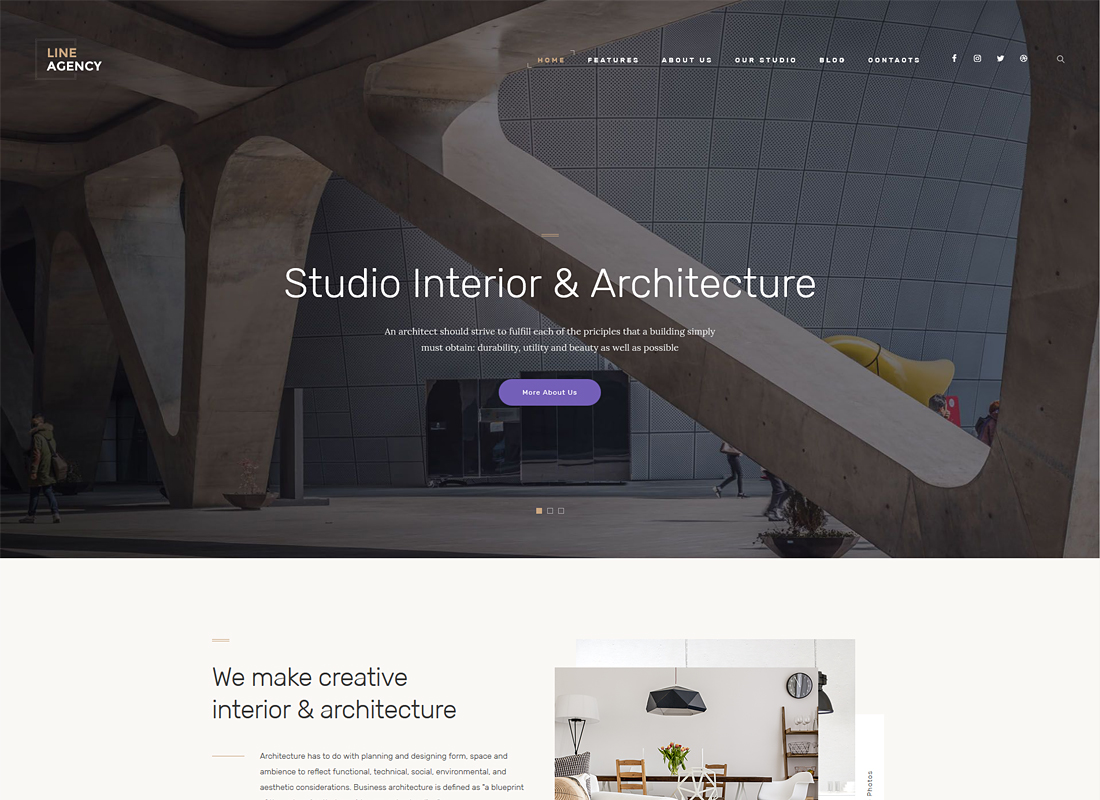 Line Agency - Interior Design & Architecture WordPress Theme