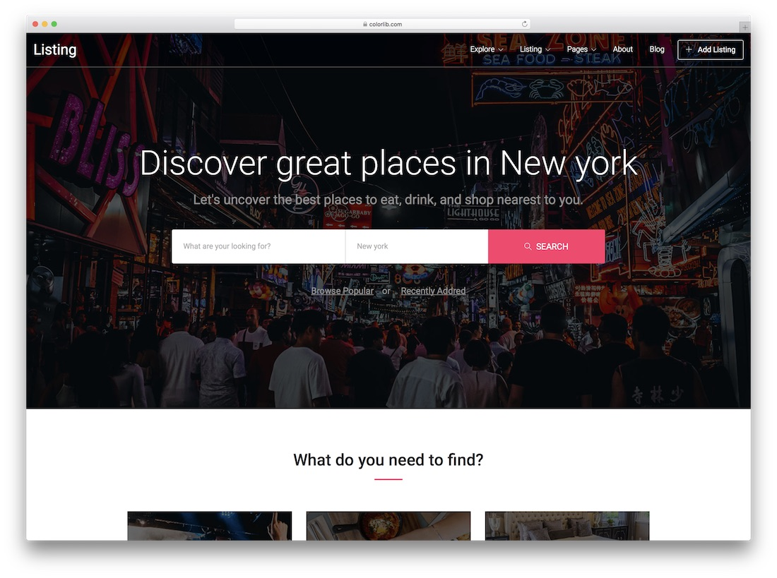 listing free directory website template