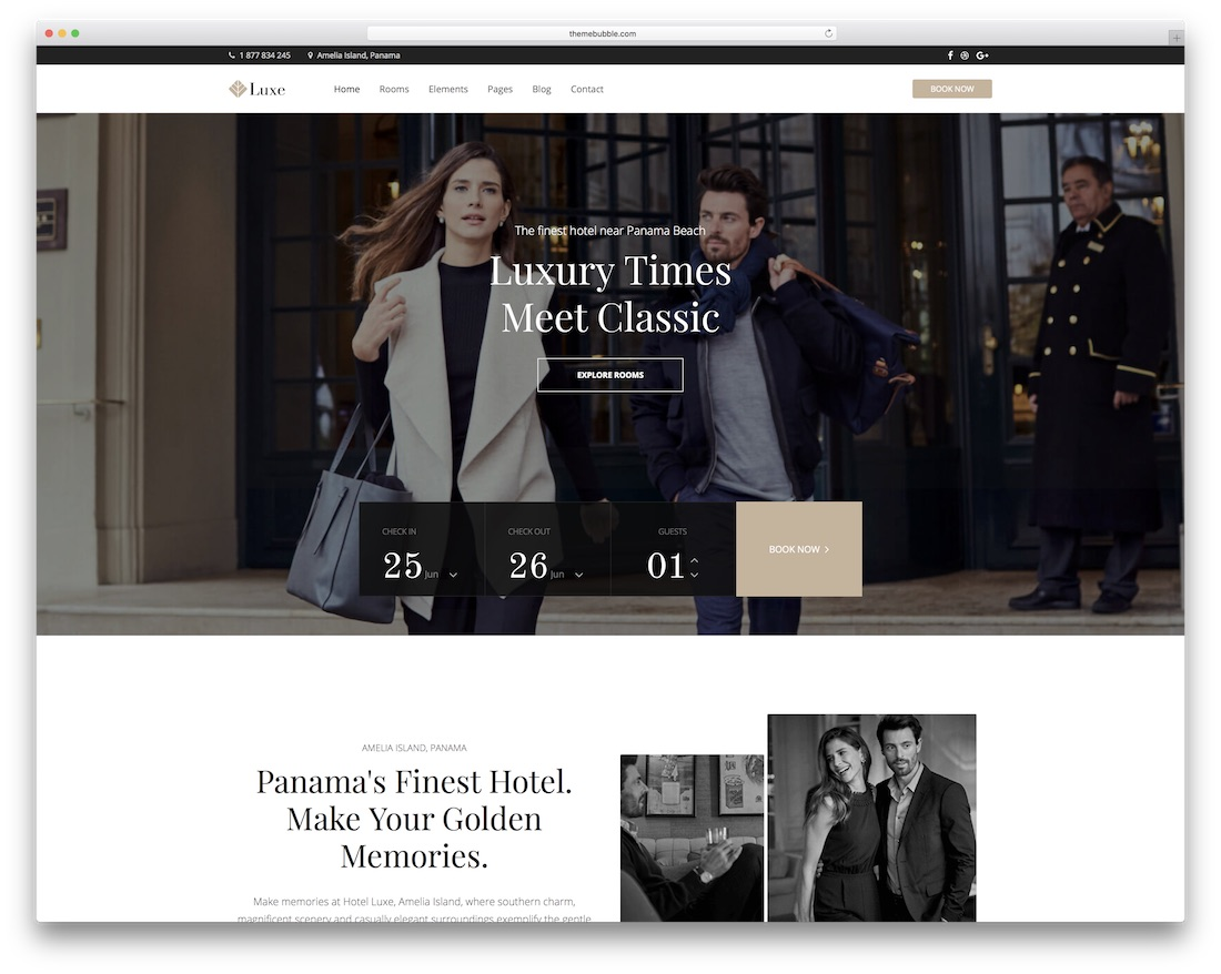 luxe hotel wordpress theme