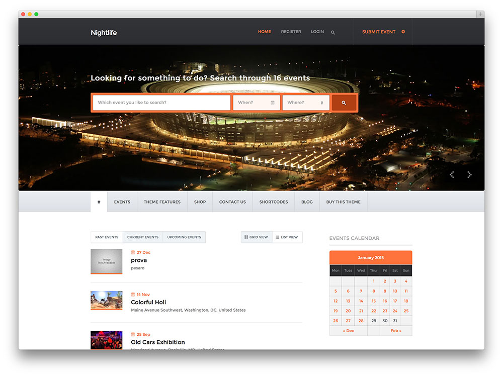 nightlife - event directory theme
